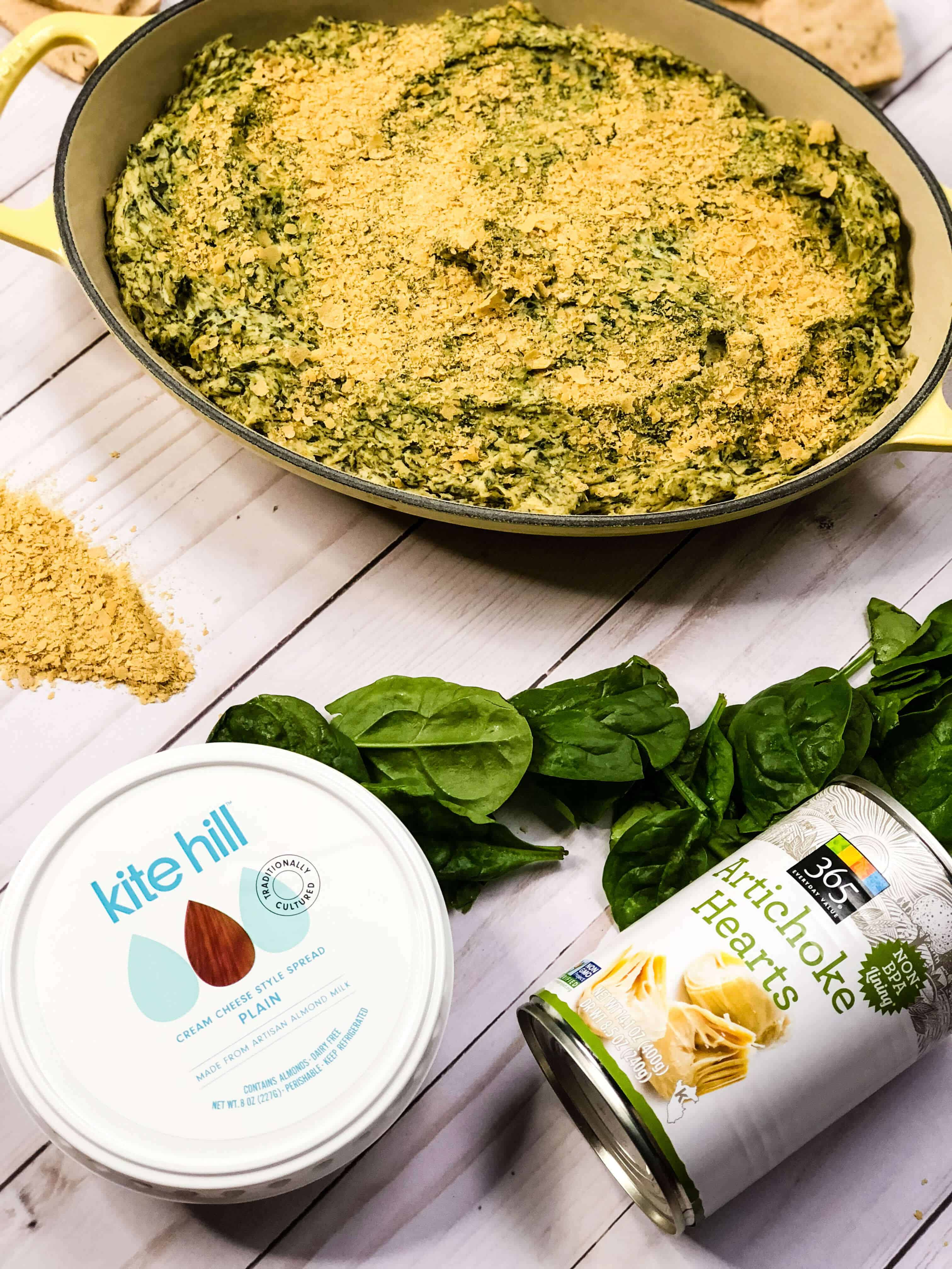 Quick & Easy Spinach Artichoke Dip! Vegan, Gluten Free & Soy Free Dish that's sure to win hearts this holiday! #saveeandsavory #vegan #glutenfree #recipe #appetizer
